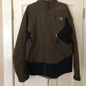 north face brown men's xl apex soft shell jacket.